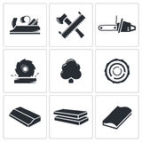 Woodworking Icons set Royalty Free Stock Images