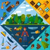 Woodworking Industry Corners. Set with forest and timber transportation elements isolated vector illustration Royalty Free Stock Images