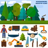 Woodworking Industry Icons. Woodworking industry decorative flat icons set with carpentry and labor work tools vector illustration Stock Photos