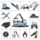 Woodworking industry icons Stock Image
