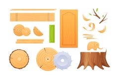 Woodworking industry, set knots, stumps, boards, shavings, finished wood products. Woodworking industry, materials for wood industry, set logs for timber Royalty Free Stock Photos