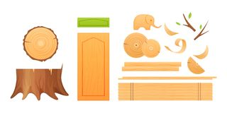 Woodworking industry, set knots, stumps, boards, shavings, finished wood products. Woodworking industry, materials for wood industry, set logs for timber Stock Illustration