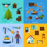 Woodworking Industry Set. Woodworking industry design concept set with lumberjack logging and timber shipping flat icons isolated vector illustration Stock Photos