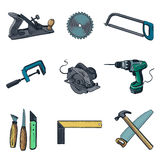 Woodworking industry and tools icons - vector icon Stock Photos
