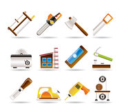 Woodworking industry and Woodworking tools icons. Icon set Royalty Free Stock Images