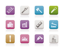 Woodworking industry and Woodworking tools icons Royalty Free Stock Image