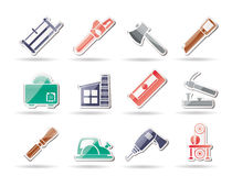 Woodworking industry and Woodworking tools icons. Icon set Royalty Free Stock Photos