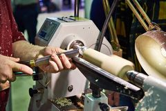 Woodworking on lathe Royalty Free Stock Images
