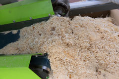 Woodworking the Machine Tool, Wood factory. Wood Shavings Royalty Free Stock Images