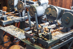 Woodworking machines in shoes factory Royalty Free Stock Image