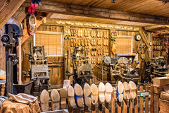 Woodworking machines in shoes factory. Zaanse Schans stock photography