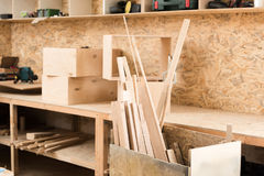Woodworking room with professional equipment Stock Photos