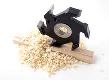 Woodworking tool. Milling cutter, part of wood shaping machine Royalty Free Stock Image