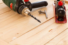 Woodworking tools on a carpenter's table Royalty Free Stock Image