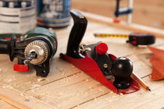 Woodworking tools on a carpenter's table Stock Photography