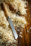 Woodworking tools. Chisel with sawdust . Stock Images