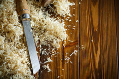 Woodworking tools. Chisel with sawdust . Stock Photo