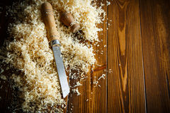 Woodworking tools. Chisel with sawdust . Royalty Free Stock Photos