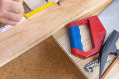 Woodworking and tools close-up Stock Photo