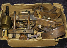 Woodworking Tools. A collection of old woodworking tools at an Antique Fair Stock Photography