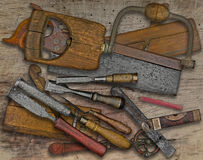 Woodworking tools over bench Royalty Free Stock Image