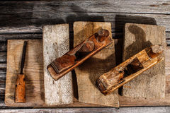Woodworking tools. Sawdust and wood ply. Raw wood with tools Royalty Free Stock Photography