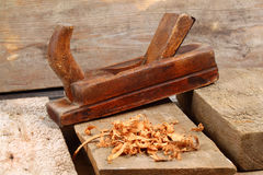 Woodworking tools. Sawdust and wood ply. Raw wood with tools Stock Image