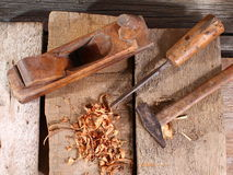 Woodworking tools. Sawdust and wood ply. Raw wood with tools Stock Photography