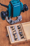 Woodworking tools  set of roundover router bits in box and plun Stock Photos