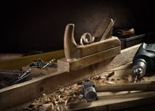 Woodworking tools. Stylized woodworking tools still life Royalty Free Stock Photography