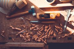 Carpenter tools on wood table background, carpenter tools in pine wood table, Woodworking tools Stock Images