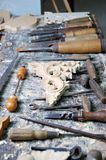 Woodworking tools with the wooden ornaments Stock Photos