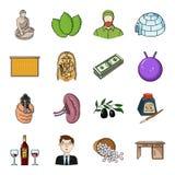 Woodworking, valor, esporte e o outro ícone da Web no estilo dos desenhos animados Arte, restaurante, golfe, ícones da mobília na ilustração royalty free