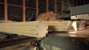 Woodworking. View of conveyor profiled beam stock footage