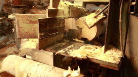 Woodworking. View of sawing log and sawdust flying stock footage