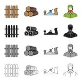 Woodworking. Enterprise, ecology and other  icon in cartoon style. Man, logger, plane icons in set collection Royalty Free Stock Photo