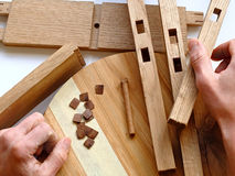 Woodworking. Woodworks begin when trees matute Royalty Free Stock Images