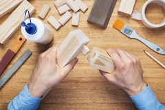 Woodworking workshop table top Royalty Free Stock Images