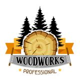 Woodworks label with wood stump and saw. Emblem for forestry and lumber industry.  Royalty Free Stock Photo