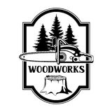Woodworks label with wood stump and saw.Emblem for forestry and lumber industry Stock Photography