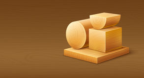 Woodworks wooden workpieces blocks of various forms Royalty Free Stock Images