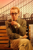 Woody Allen Wax Figure Royaltyfri Foto