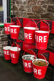 WOODY BAY, DEVON/UK - OCTOBER 19 : Fire buckets at Woody Bay Sta Stock Photos