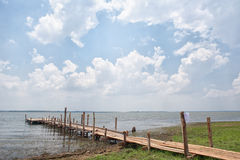 Woody bridge and stage for fisherman. In ubolrat reservoir in Khonkaen province,thailand Royalty Free Stock Images