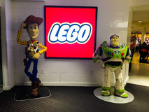 Woody and Buzz. Sheriff Woody and Buzz Lightyear created soley by Legos are on display at the Lego store at Disney Springs Orlando Royalty Free Stock Images