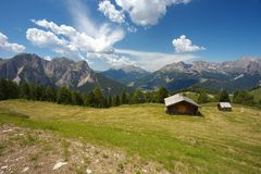 Woody cabin with Dolomites, Italy Stock Image