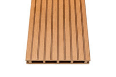 Woody composite decking board on white Royalty Free Stock Images