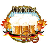 Woody frame Oktoberfest Celebration design with beer and pretzel Stock Images