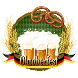 Woody frame Oktoberfest Celebration design with beer and pretzel. File contains Gradients, Clipping mask, Transparency Stock Image