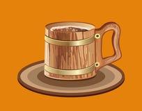 Woody mug of beer Royalty Free Stock Photography